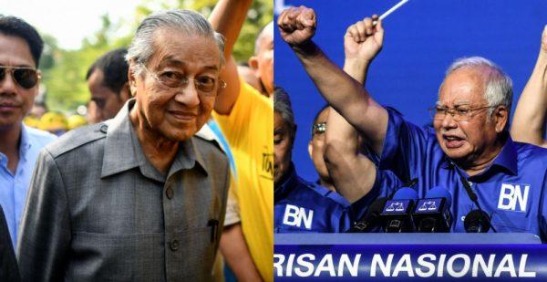 Duel fratricide pour les élections du 9 mai en Malaisie : l'ancien Premier ministre Mahathir Mohammad (à gauche) se présente contre l'actuel chef du gouvernement Najib Razak (à droite). (Source : Mothership)