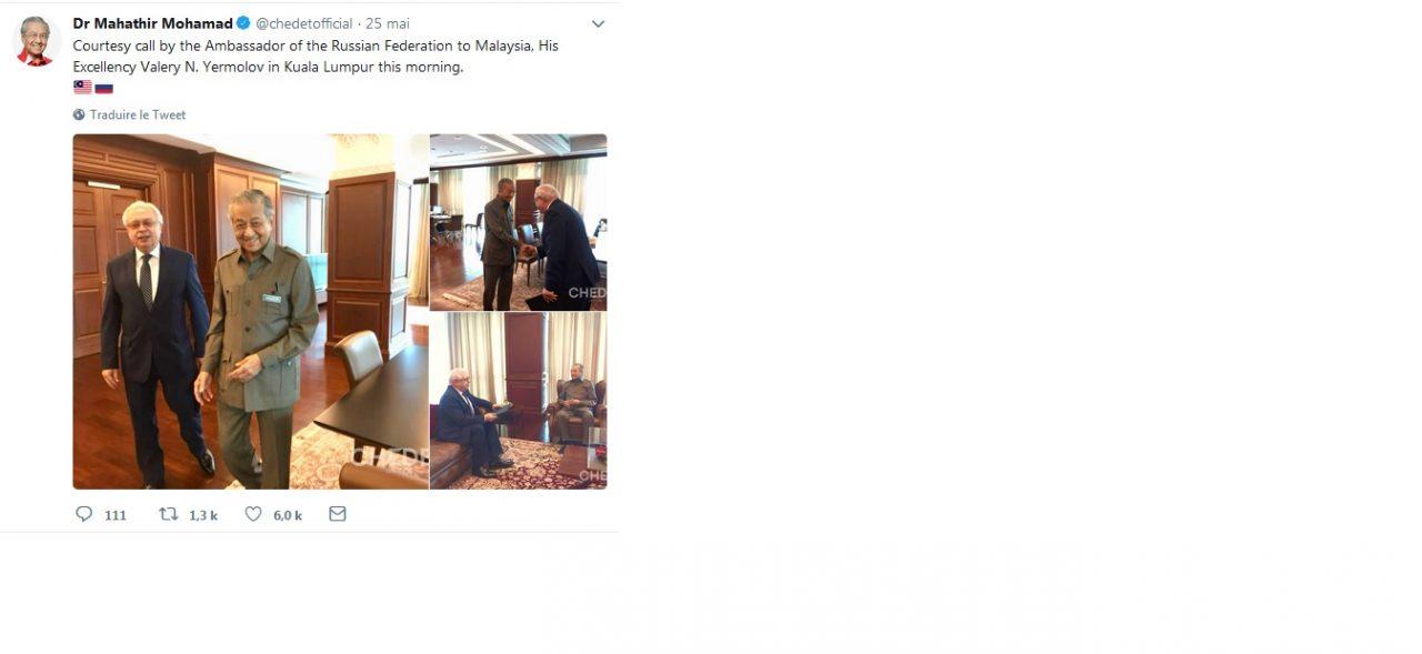 Mahathir Mohamed avec l'ambassadeur de la Fédération de Russie. (Compte Twitter officiel)