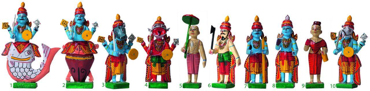 """Les dix avatars de Vishnou (figurines de Kondapalli, XXème siècle). Extrait du livre """"Dieux de l'Inde, images et signes"""" par Jean Delmas, CNRS Éditions. (Copyright : CNRS Éditions)"""