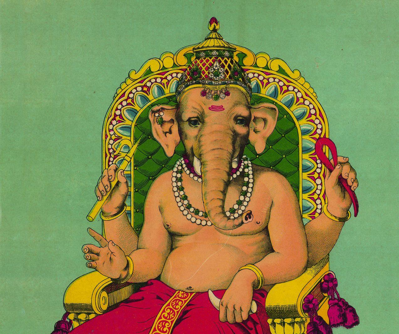 """Ganesha (chromolithographie, 1910). Extrait du livre """"Dieux de l'Inde, images et signes"""" par Jean Delmas, CNRS Éditions. (Copyright : CNRS Éditions)"""
