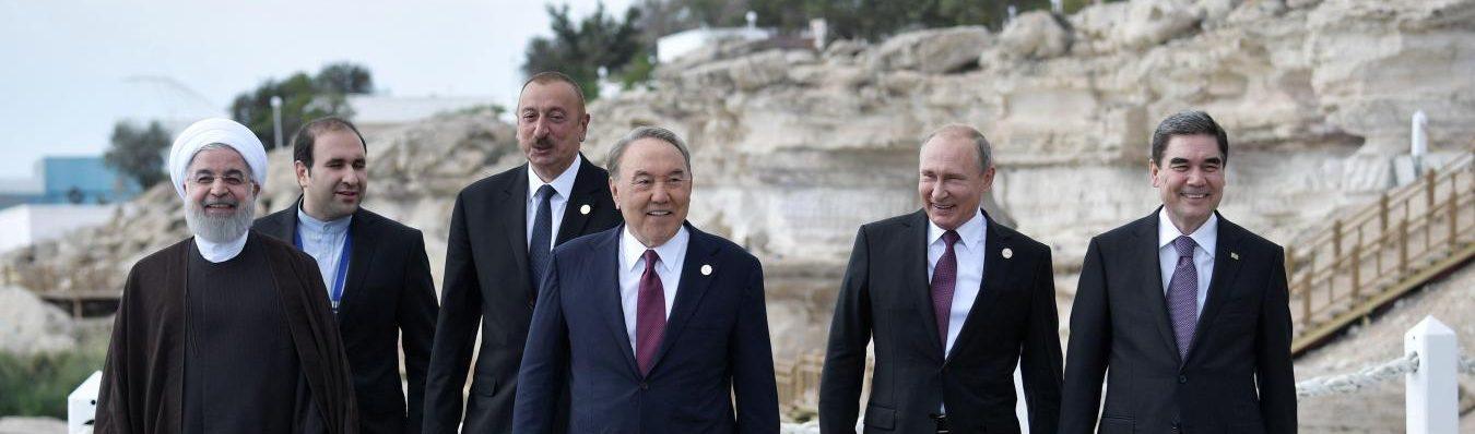 """Vladimir Poutine et la Russie sortent vainqueurs """"politiques"""" de l'accord signé pour les partage des richesses de la mer Caspienne le 12 août 2018 à Aktaou au Kazakhstan. (Source : La Voix du Nord)"""