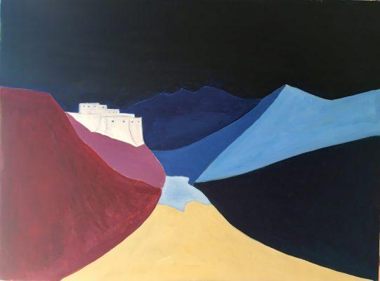"""""""Ladakh, songe d'un monastère sur sa vallée"""", par Michel Testard – Acrylique sur toile 150 x 75 cm - 2018. (Copyright : Michel Testard)"""