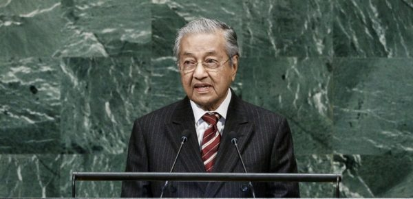 Le Premier ministre malaisien Mahathir Mohamad à la tribune de l'ONU durant son discours devant l'Assemblée générale le 28 septembre 2018 à New York. (Source : South China Morning Post)