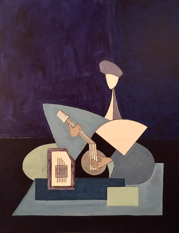 """Sitariste en ton bleu"", par Michel Testard - Acrylic sur toile 100 x 80 cm - 2018. (Copyright : Michel Testard)"