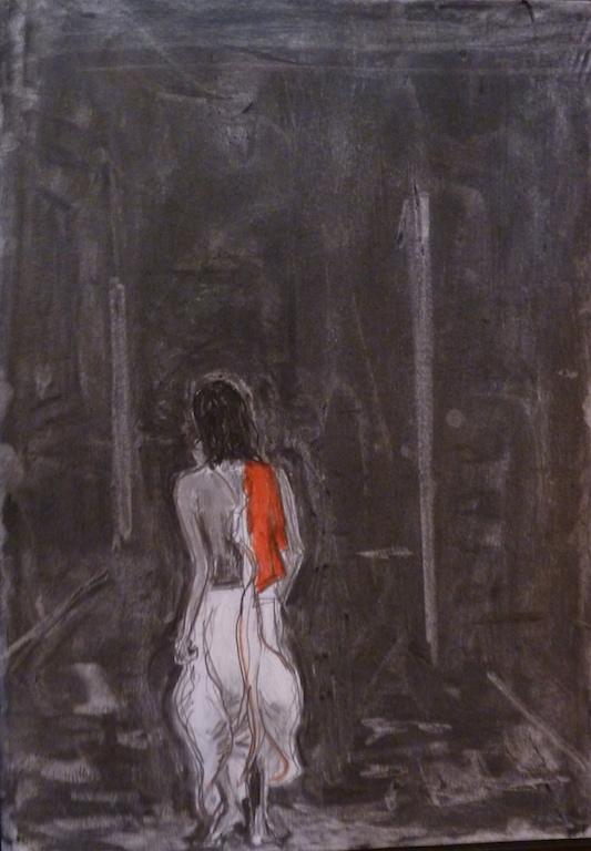"""""""Swami marchant dans la nuit"""", par Michel Testard – Puri, Orissa – Fusain sur papier 42 X 30 cm - 2013. (Copyright : Michel Testard)"""