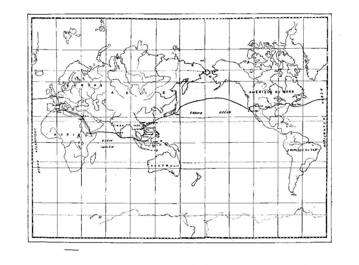 """Route suivie par Albert Seigneurie, auteur du """"Tour du monde d'un épicier"""". (Crédits : Tohu Bohu)"""