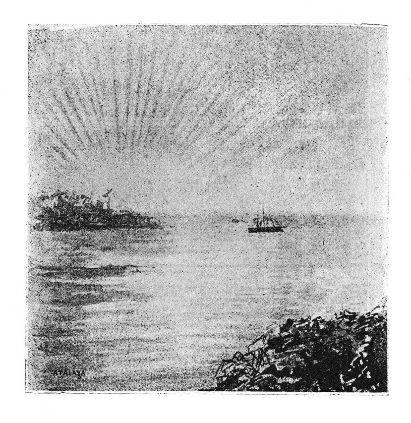 """""""Nous contemplons, pendant trois jours, ces côtes verdoyantes, ce coin du paradis perdu interdit, pendant qu'on remplit de charbon, à nouveau et lentement, les flancs de notre Bien-Hoa, gros mangeur de ce combustible. Enfin, le soir de ce troisième jour, nous levons l'ancre, par un coucher de soleil merveilleux."""" Albert Seigneurie, """"Le Tour du Monde d'un épicier"""". (Crédit : Tohu Bohu)"""