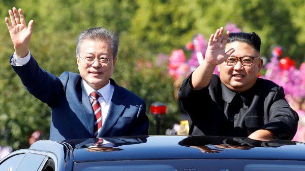 Le président sud-coréen Moon Jae-in et le dirigeant nord-coréen Kim Jong-un lors du sommet intercoréen de Pyongyang le 18 septembre 2018. (Source : Sky news)