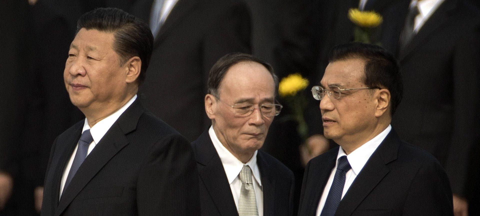 Le président chinois Xi Jinping avec son vice-président Wang Qishan et son Premier ministre Li Keqiang. (Source : Nikkei Asian Review)
