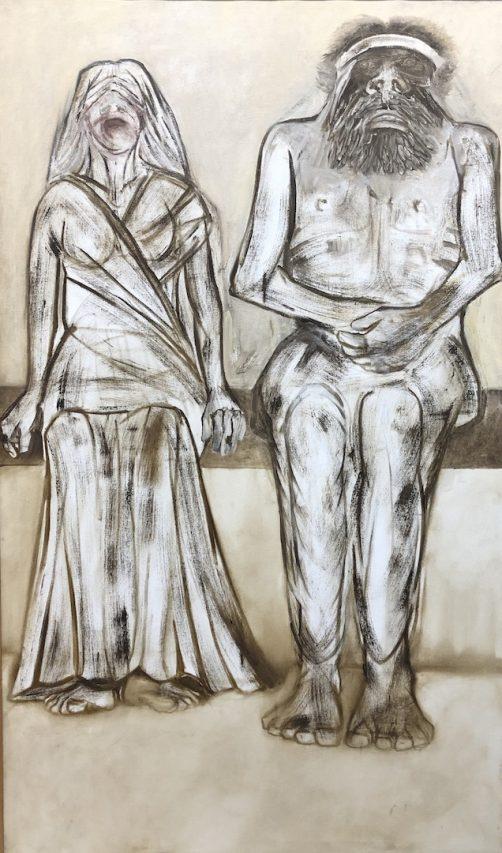 Tableau du peintre indien Krishen Khanna, exposé à l'India Art Fair à New Delhi, du 30 janvier au 2 février 2019. (Crédit : Michel Testard)