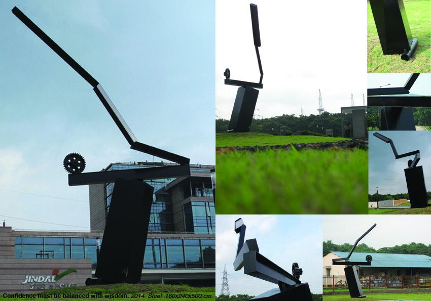 """""""Confidence must be balanced with wisdom"""" - sculpture de Julien Sehard - acier 400x85x500cm - 2014. Une des quatre sculptures installées dans le campus de l'usine. (Crédit : Julien Segard)"""
