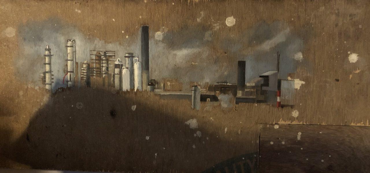 Dessin d'une usine au fusain sur une plaque cartonnée par Julien Segard – 40 x 90 cm. (Crédit : Michel Testard)