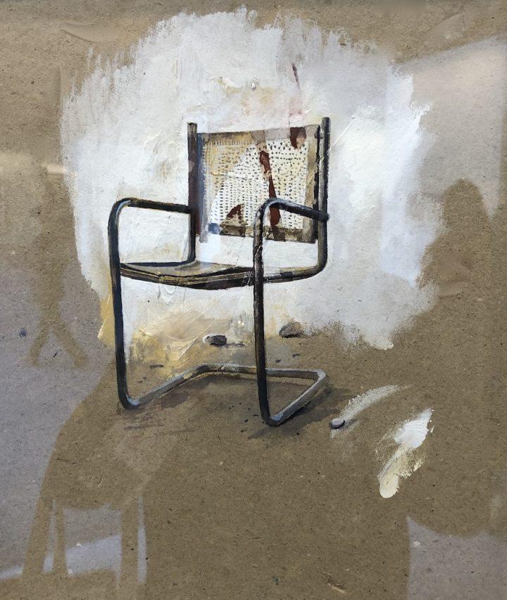 Dessin de chaise par Julien Segard, présentés à l'India Art Fair de New Delhi du 30 janvier au 2 février 2019. (Crédit : Michel Testard)