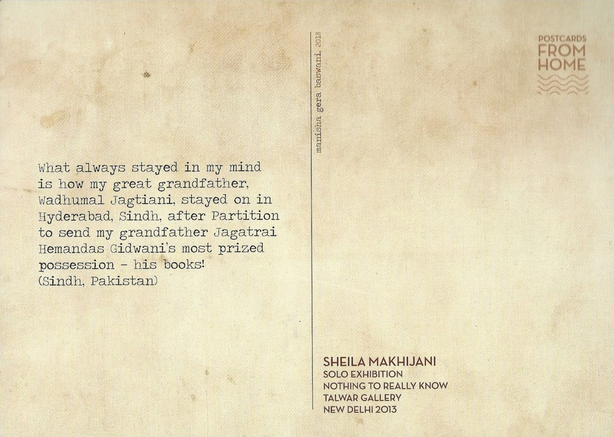 """L'histoire du grand-père de Sheila Makhijani. Pièce de l'installation """"Carte postale à la maison"""" de Manisha Gera Baswani, exposée à l'India Art Fair de New Delhi du 30 janvier au 2 février 2019. (Crédit : Michel Testard)"""