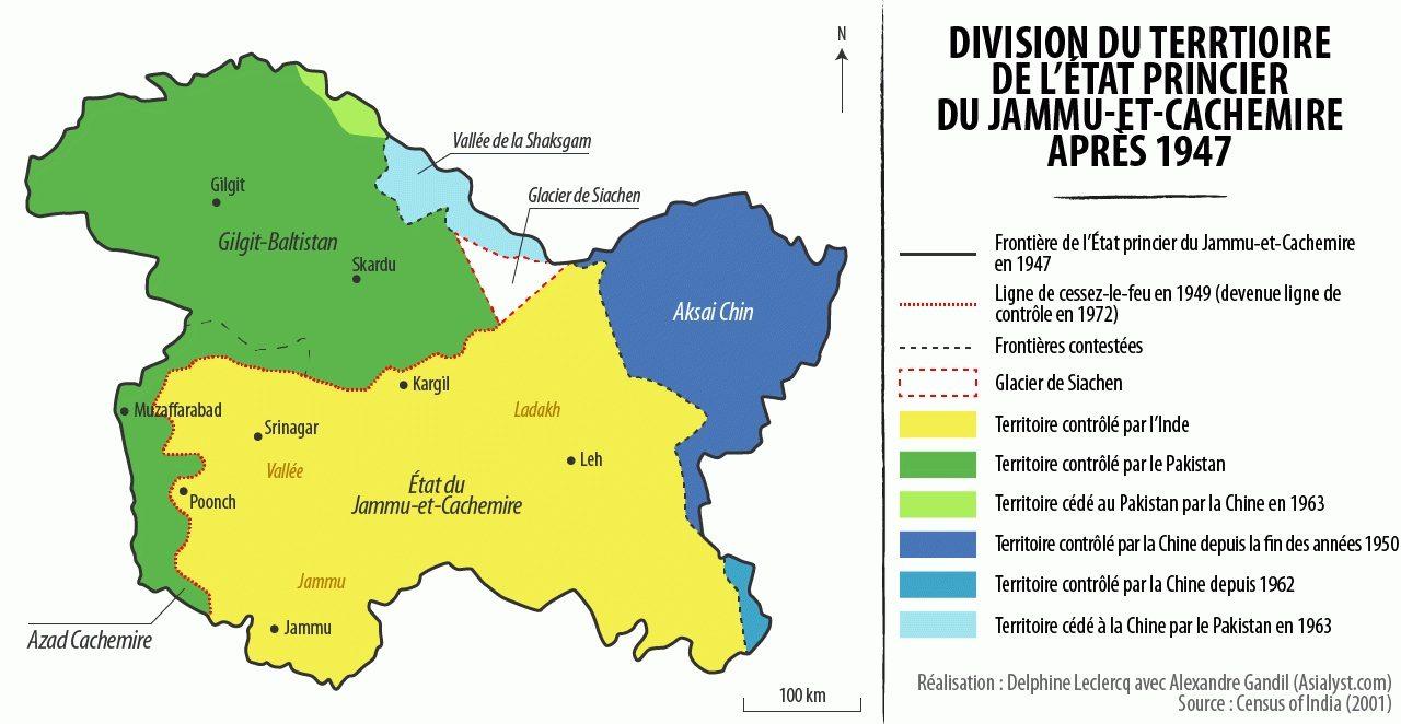 Division du territoire de l'État princier du Jammu-et-Cachemire après 1947. (Crédits : Alexandre Gandil/Asialyst)