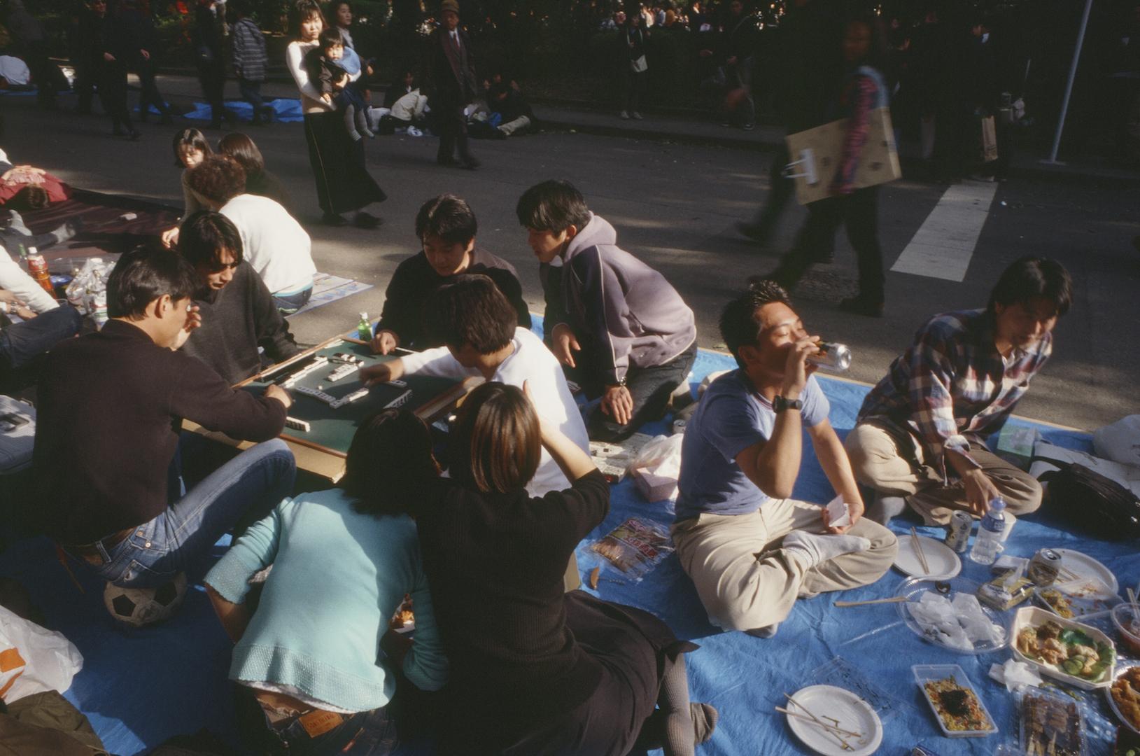 Mah-jong à Hanami au Japon - avril 2000. (Copyright : Bruno Birolli)