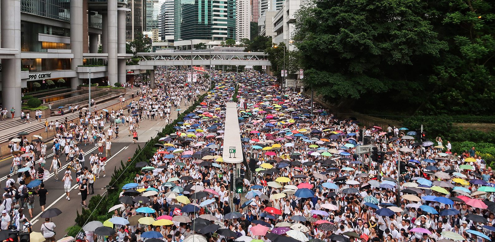 Manifestation contre la loi sur l'extradition à Hong Kong le 9 juin 2019. (Source : Wikimedia Commons)