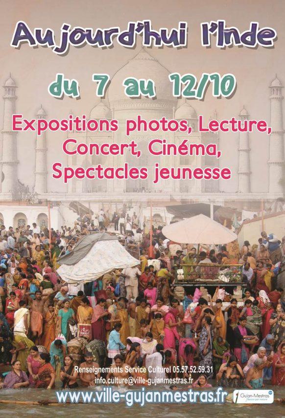 """""""Aujourd'hui l'Inde"""", une semaine d'activités culturelles et de conférenceà Gujan-Mestras avec Patrick et Véronique de Jacquelot, du 7 au 12 octobre 2019. (Copyright : Marie de Gujan-Mestras)"""