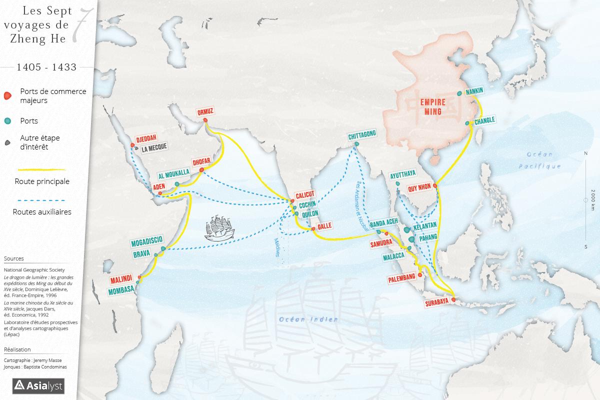 Carte des expéditions de l'amiral Zheng He. (Crédits : Jeremy Masse pour la cartographie / Baptiste Condominas pour le dessin / Asialyst)