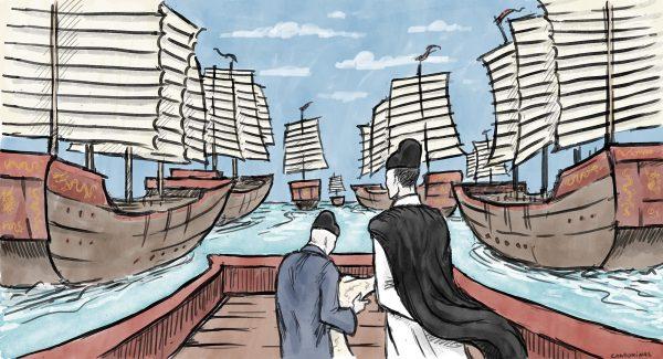 L'Amiral chinois Zheng He lors d'une de ses expéditions. Dessin : Baptiste Condominas. (Copyright : Baptiste Condominas)