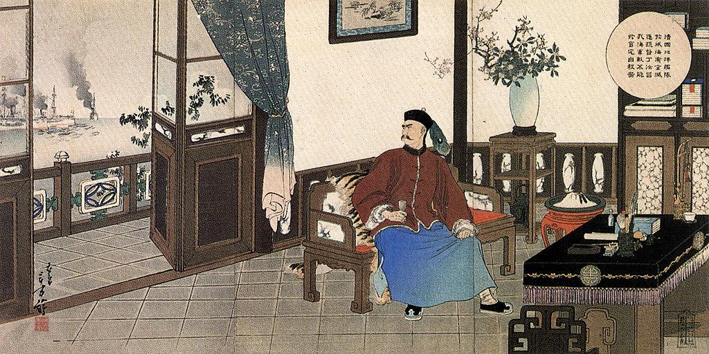 Le suicide de l'Amiral Ding Ruchang après la défaite face au Japon en février 1895. Peinture de Toshikata Mizuno (1866–1908) (Source : Wikimedia Commons)