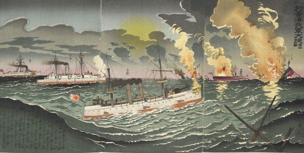La bataille du fleuve Yalu le 17 septembre 1894, qui vit la défaite de la flotte de Beiyang face à la marine japonaise. (Source : CMSEC)