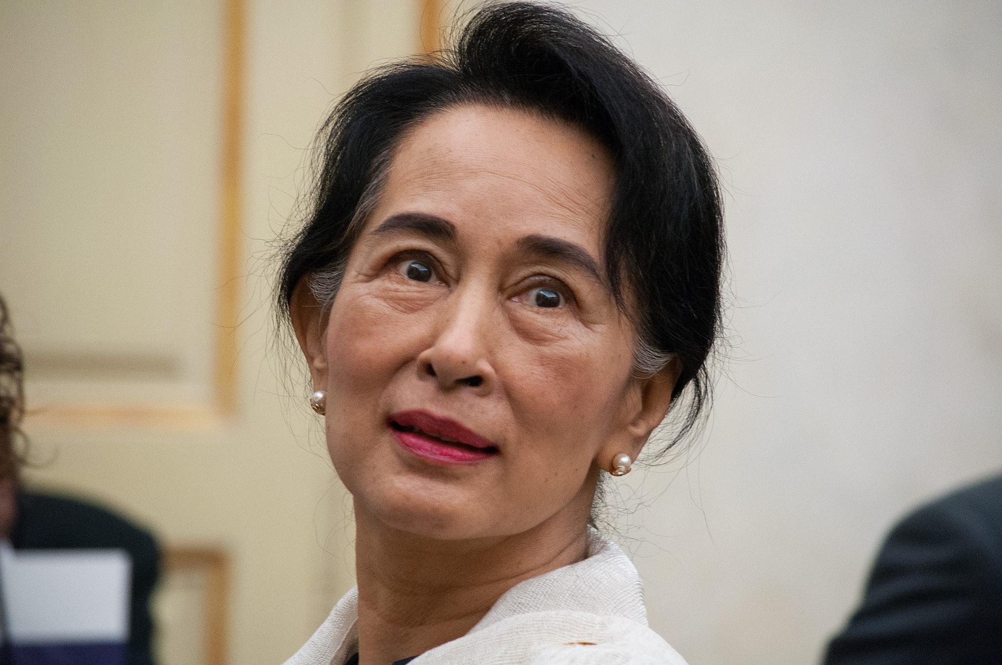 Aung San Suu Kyi, conseillère d'État, équivalent de facto au poste de Première ministre. (Source : Wikimedia Commons)