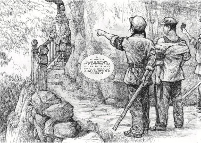 """Extrait de la bande dessinée """"Au loin, une montagne"""", scénario et dessin Chongrui Nie, Steinkis. (Copyright : Steinkis)"""