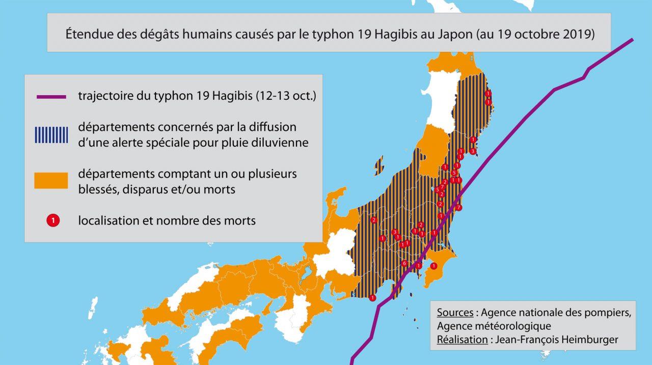 Carte décrivant l'étendue des dégâts humains causés par le typhon Hagibis au 19 octobre 2019. (Crédit : Jean-François Heimburger)