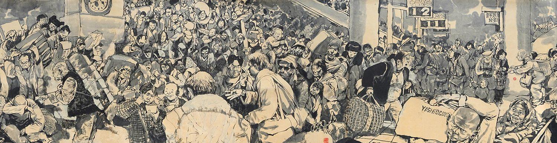 """""""Ruée dans les transports à la fête du printemps"""", une fresque de l'artiste chinois Li Kunwu. Copyright : Li Kunwu/Est-Ouest 371)"""