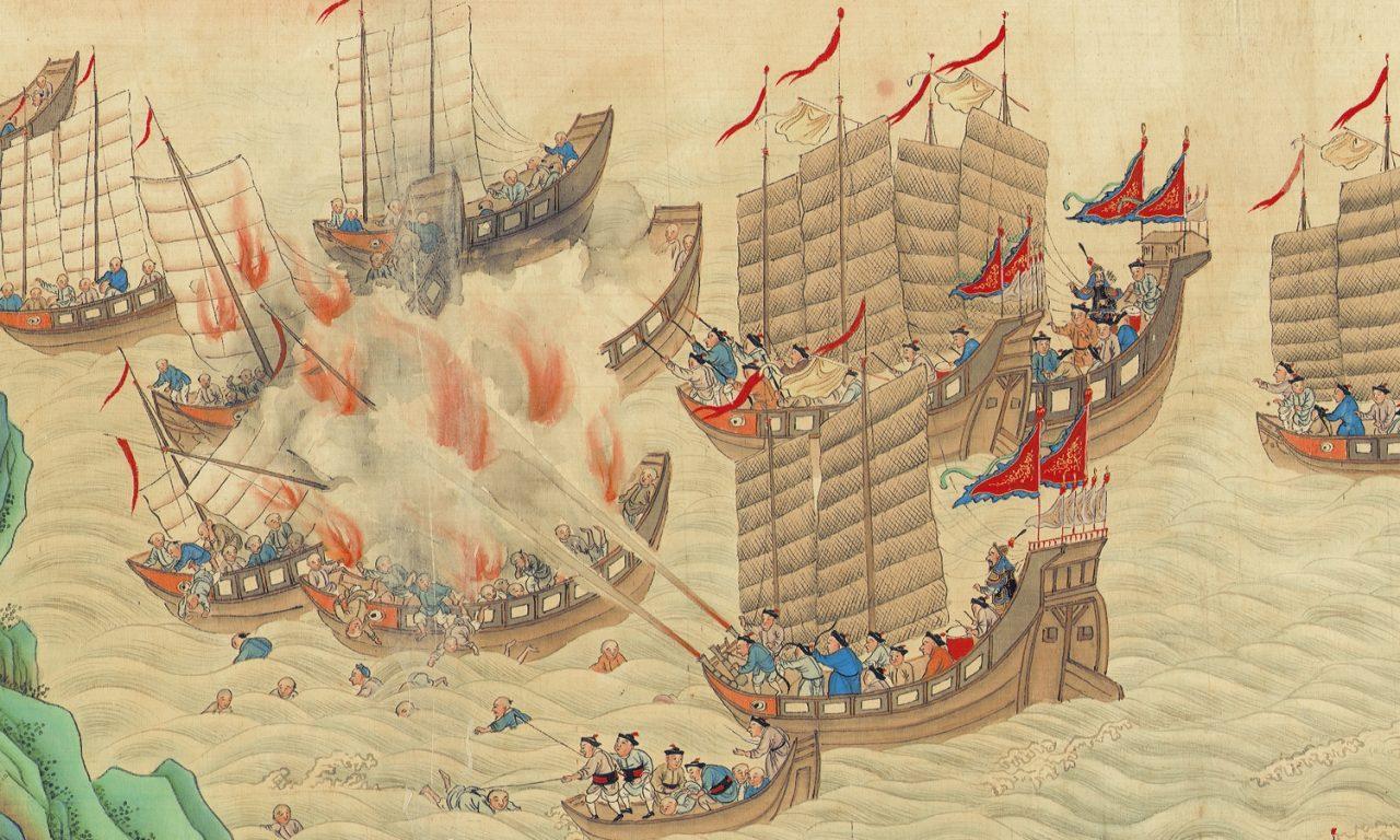 Piraterie en mer d Chine sous la dynastie des Qing (1644-1911). Détail d'un rouleau de peinture des Qing exposé au Hong Kong Maritime Museum. (Source : Wikimedia Commons)