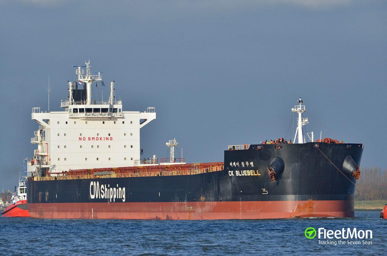 Le 22 juillet 2019, Sept pirates sur un hors-bord attaquent le vraquier CK Bluebell près du détroit de Singapour, selon l'agence coréenne Yonhap.(Source : Fleetmon)