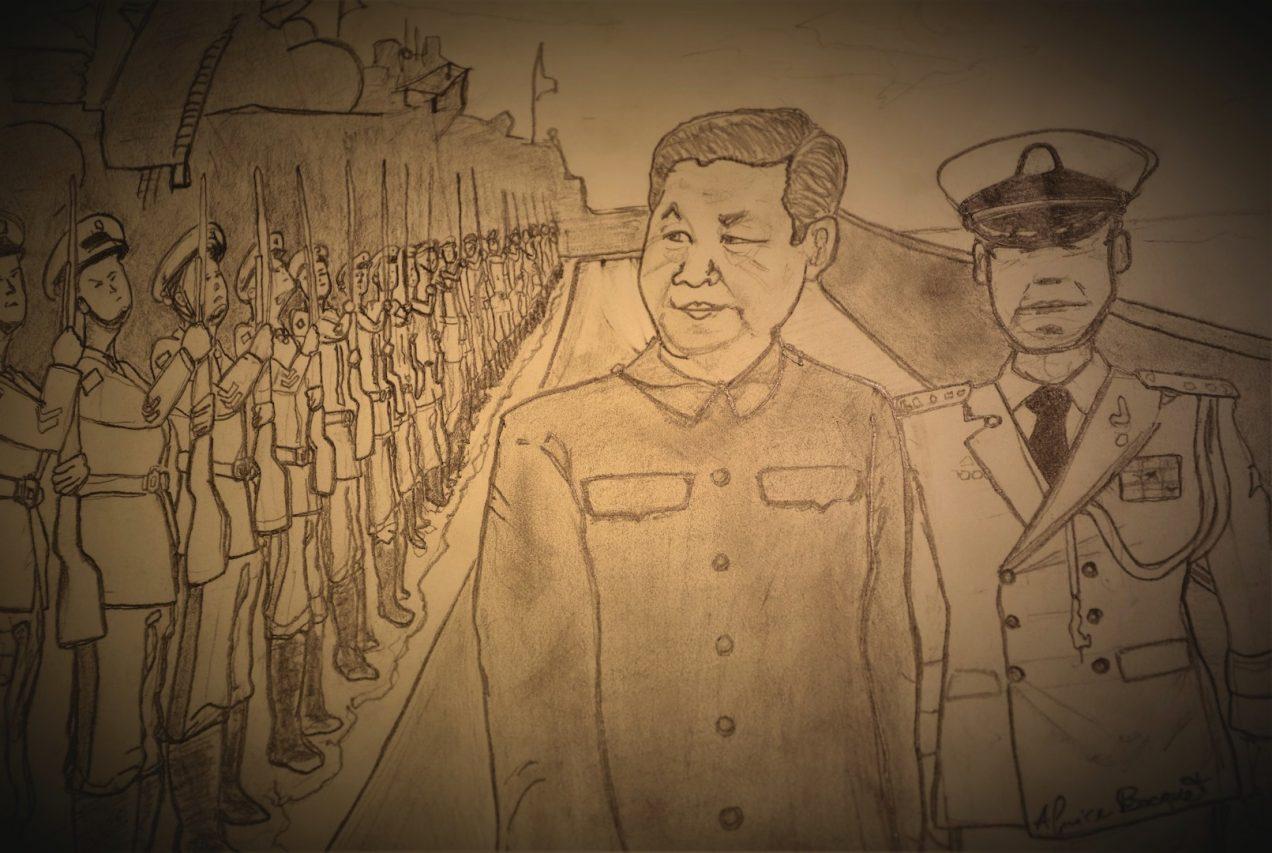 Le président chinois Xi Jinping à bord du navire chinois 117 Xining pour célébrer les 70 ans de la marine de l'Armée populaire de libération, le 23 avril 2019 au large du port de Qingdao. Dessin : Igor Gauquelin. (Copyright : Igor Gauquelin)