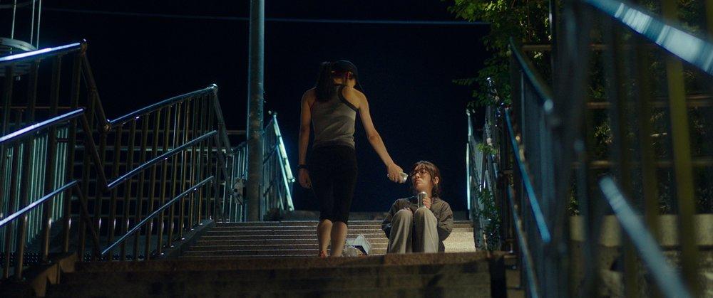 """Scène du film """"Our Body"""" de la réalisatrice sud-corénne Ha Ka-ram : Ja-young rencontre la belle joggeuse Hyun-joo. (Crédit : DR)"""