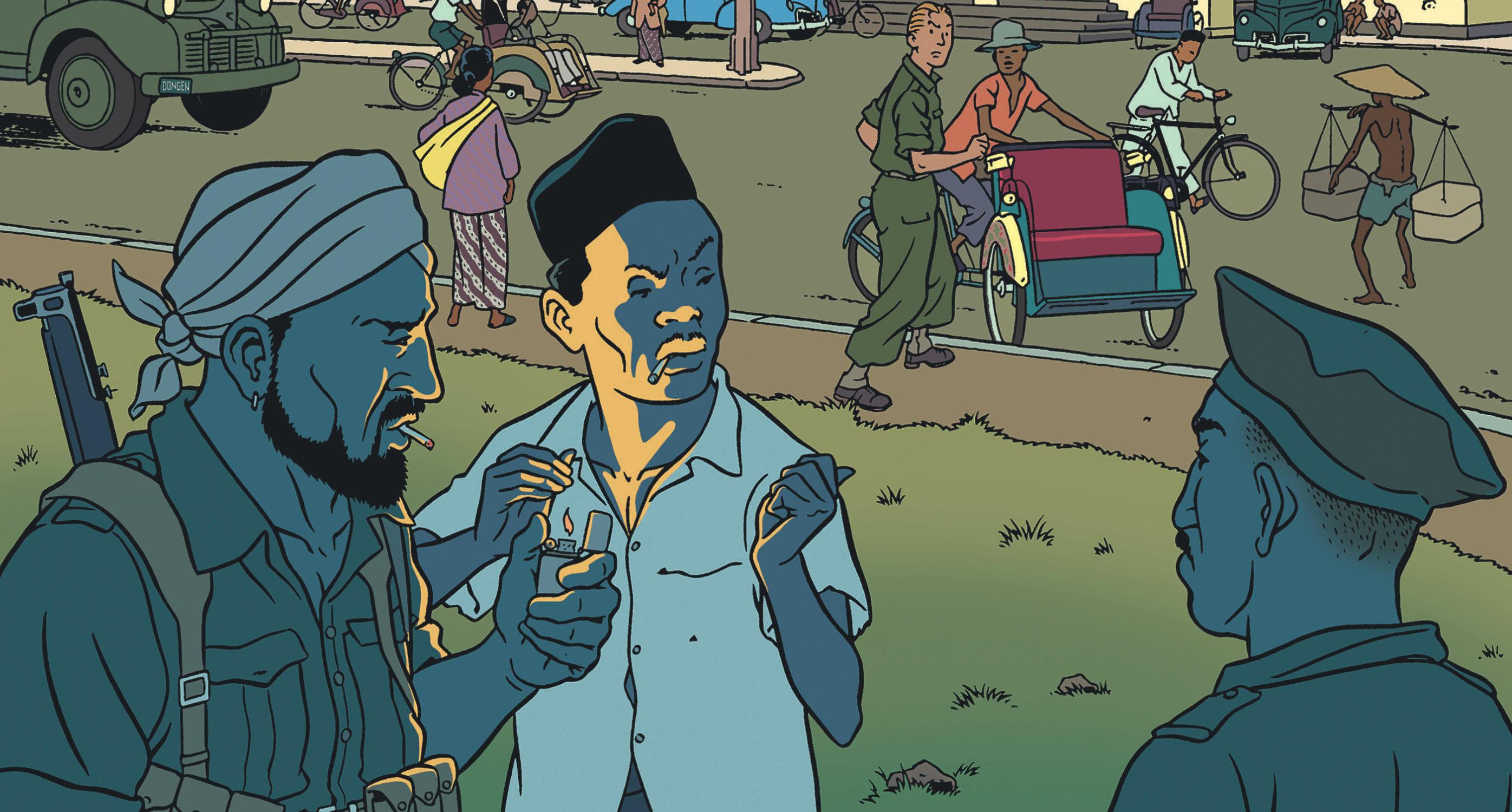 """Couverture de la bande dessinée """"Rampokan, scénario et dessin Peter Van Dongen, coll. Aire Libre, éditions Dupuis. (Copyright : Dupuis)"""