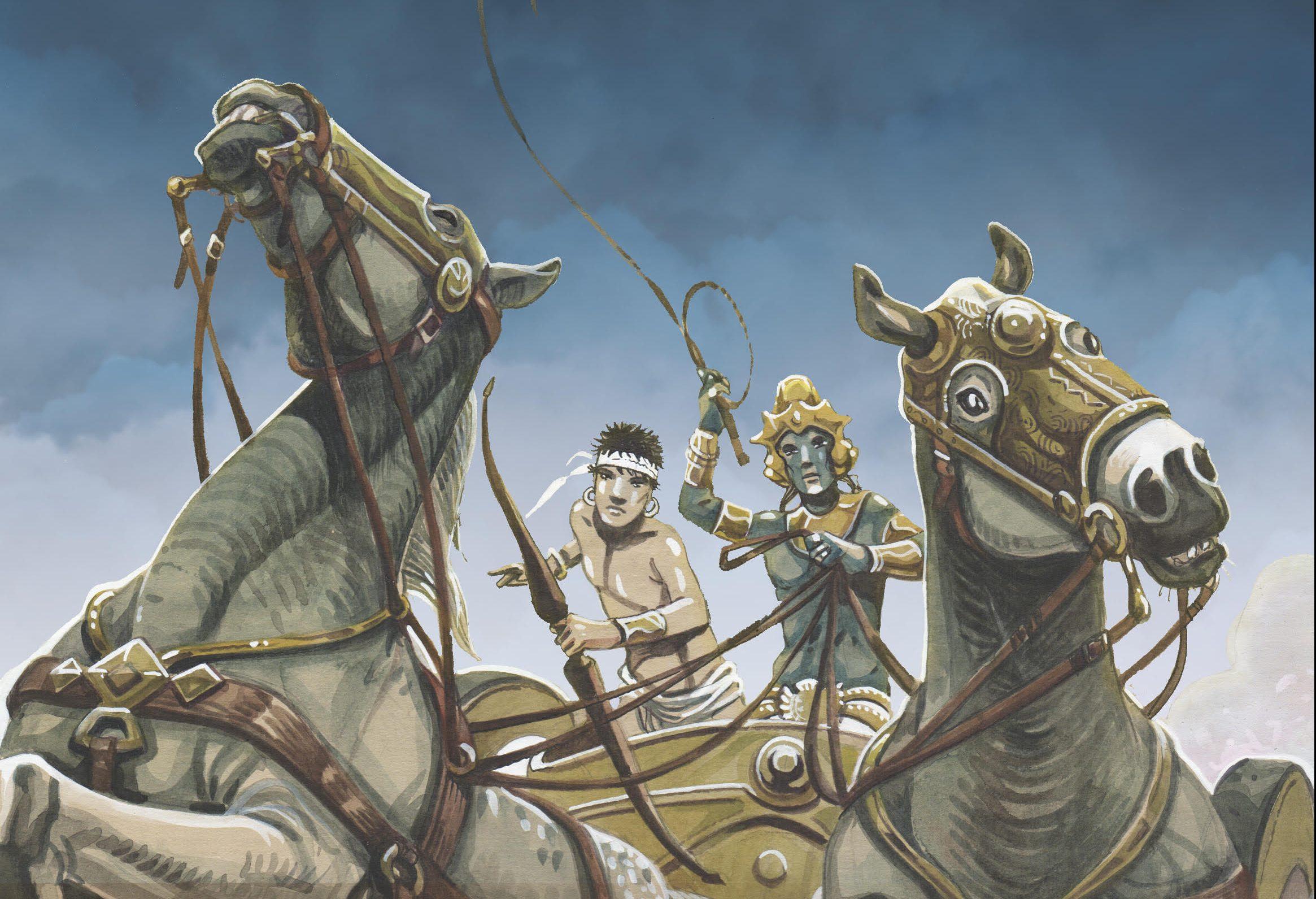 """Couverture de la bande dessinée """"Le Mahabharata"""", scénario Jean-Claude Carrière et Jean-Marie Michaud, dessin Jean-Marie Michaud, Hozhoni éditions. (Copyright : Hozhoni éditions)"""