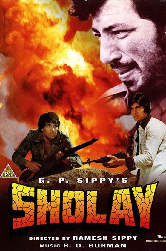 """""""Sholay"""", film indien de Ramesh Sippy, projeté lors du Festival du Film d'Asie du Sud 2020 à Paris. (Crédit : FFAST)"""