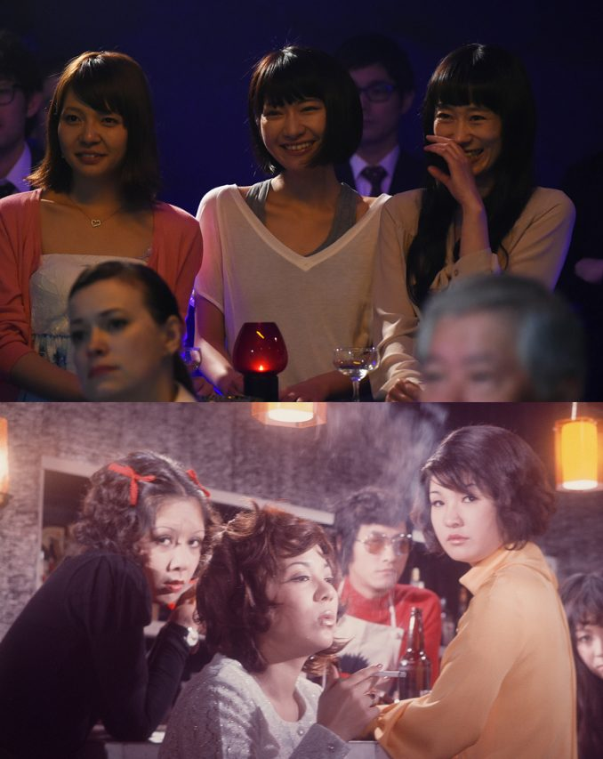 """""""L'aube des félines"""" de Kazuya Shiraishi (en haut) réactualise la question de la prostitution des jeunes femmes à Tokyo, déjà abordée dans """"Nuits félines à Shinjuku"""" (en bas). (Crédit : Elephant Films)"""