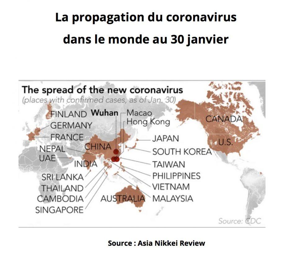 La propagation du coronavirus dans le monde : le nombre de cas confirmés au 30 janvier 2020. (Source : Asia Nikkei Review)