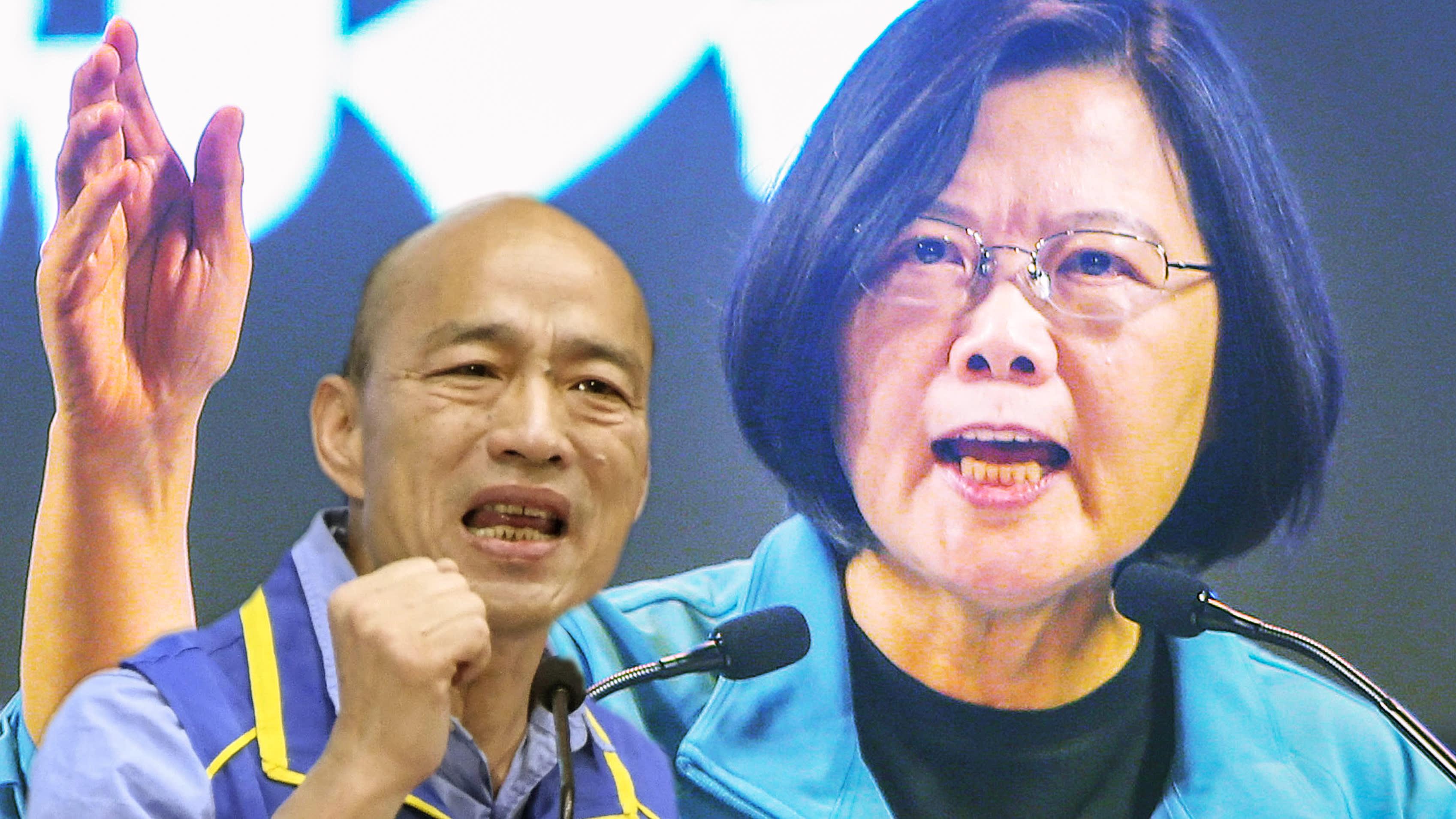 Han Kuo-yu (KMT) et la présidente sortante Tsai Ing-wen (PDP), les deux principaux candidats à l'élection présidentielle taïwanaise du 11 janvier 2019. (Source : Asia Nikkei)