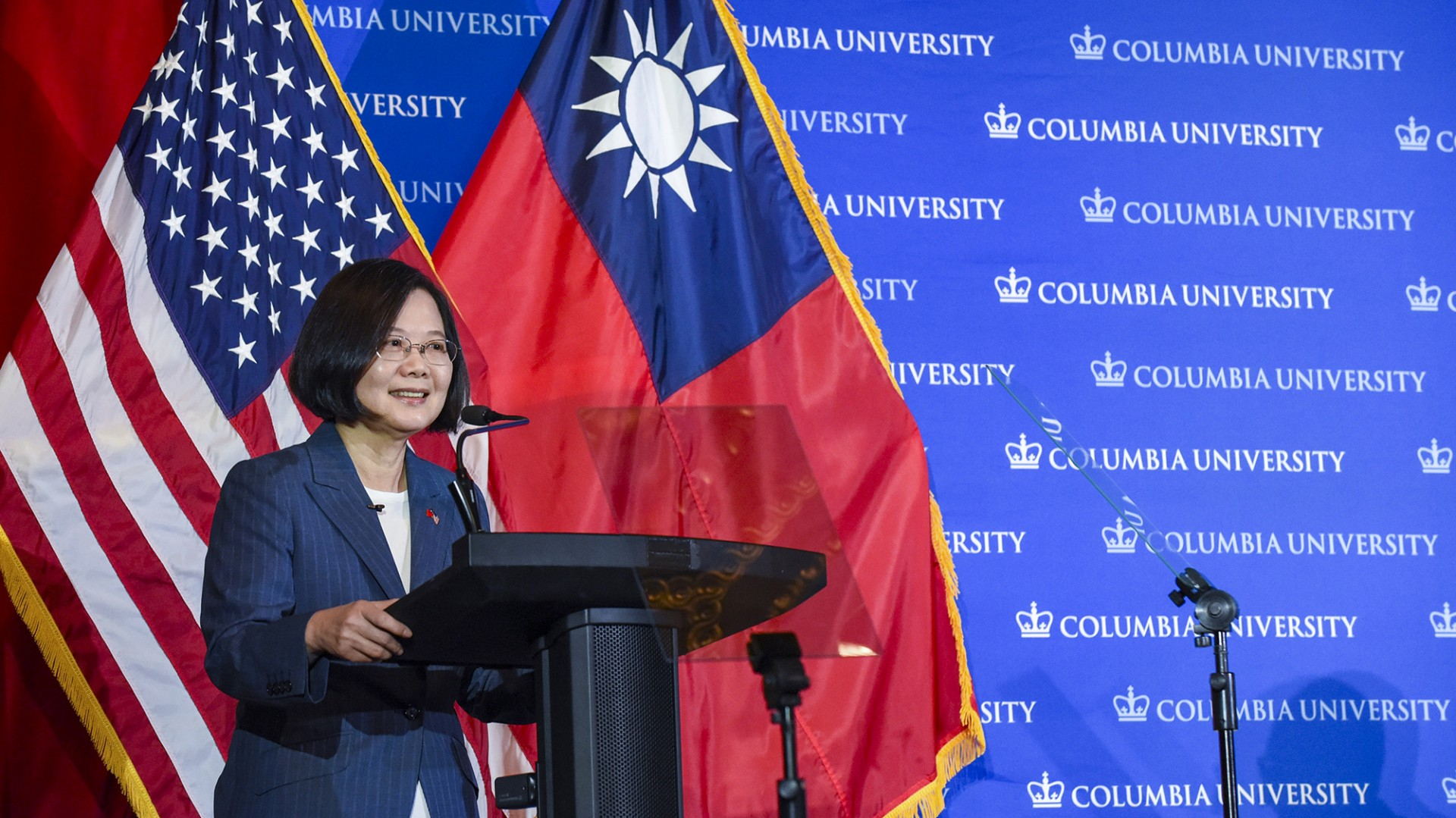 La présidente taïwanaise Tsai Ing-wen à l'Université de Columbia à New York, le 24 juillet 2019. (Source : Defense.info)