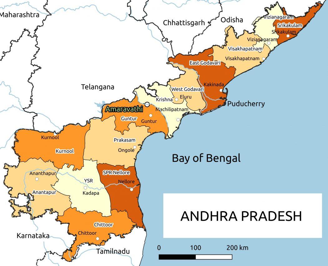 Carte administrative de l'État indien de l'Andhra Pradesh. (Source : Wikipedia)