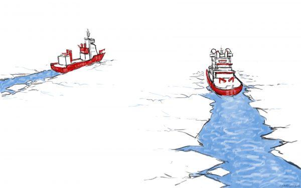 Les deux brises-glaces de la Chine dans le cercle arctique : le Xuelong (Dragon des neiges) et le Xuelong 2. Dessin : Baptiste Condominas. (Copyright : Baptiste Condominas pour Asialyst)