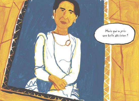 """Extrait de la bande dessinée """"Aung San Suu Kyi, Rohingya et extrémistes bouddhistes"""", scénario Frédéric Debomy, dessin Benoît Guillaume, Massot Editions. (Copryright : Massot Editions)"""