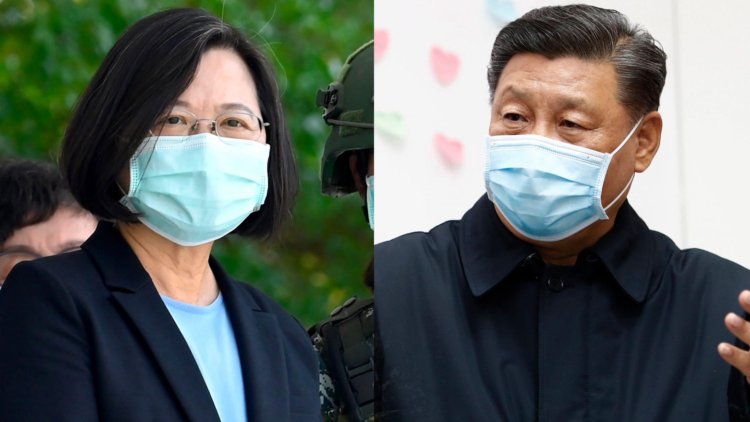 La présidente taïwanaise Tsai In-wen, à gauche, et le président chinois Xi Jinping, à droite. Source : Nikkei Asian Review