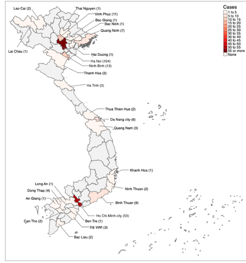 "Carte : nombre de personnes infectées par le coronavirus au Vietnam (au 4 avril 2020). Source : Viet-Phuong La et alii, ""Policy Response: Social Media and Science Journalism for the Sustainability of the Public Health System Amid the COVID-19 Outbreak: The Vietnam Lessons"", Sustainibility, 12, 7, 2020."