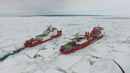 Les deux brise-glaces chinois Xuelong et Xuelong 2 dans les eaux près de la base de Zhongshan en Antarctique le 20 novembre 2019. (Source : Xinhuanet)