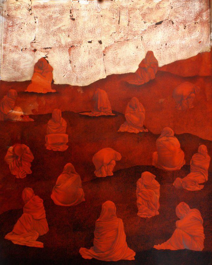"""Mohsin Taasha, série """"Tavalod-e dobareh-ye sorkh"""" (La renaissance du rouge), Kaboul, 2017. Gouache et feuilles d'argent sur papier wasli, 70 x 56 cm. Collection de l'artiste. (Copyright : Mohsin Taasha)"""