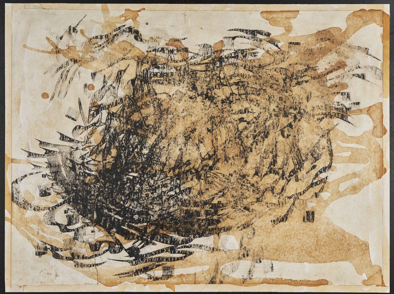 """Aziz Hazara, """"Nun noir"""", série """"Les Mots brûlés"""", 2012. Encre sur papier wasli, 55 x 70 cm. Collection particulière. (Copyright : Aziz Hazara / Crédit photo : David Giancatarina)"""