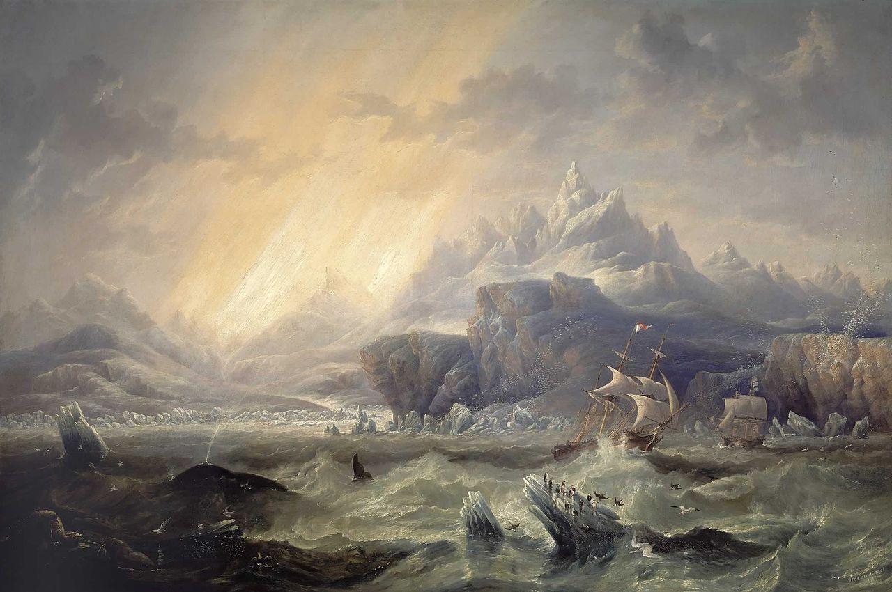 Le HMS Erebus et HMS Terror en Antarctique par John Wilson Carmichael, 1847, National Maritime Museum, Greenwich, Londres. (Source : Wikimedia Commons)
